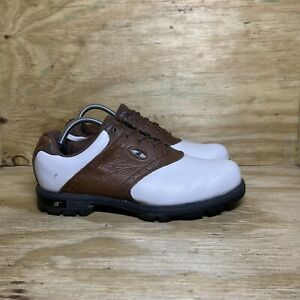 New Balance MG1275BR Leather Golf Shoes, Men's Size 9, White / Brown
