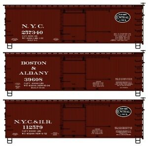 HO ACCURAIL 8125 NEW YORK CENTRAL LINES 36' DBL Sheath Wood Boxcar 3-PK KIT