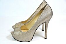 Enzo Angiolini Women's BRONZE SHIMMER PEEP TOE HIGH HEEL SHOES SIZE 8M rm