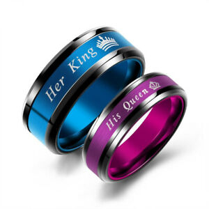 Her King & His Queen Stainless Steel Couple Rings Promise Loves Engagement Gift