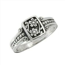 Sterling Silver Textured Floral Ring - Free Gift Packaging