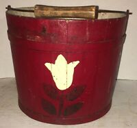 AAFA Early Primitive Painted Bucket Paint Decorated Swing Handle Pail