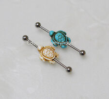 2pcs Turquoise Turtle Industrial Barbell piercing Ear Jewelry Double Piercing
