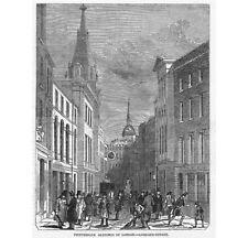 LONDON Lombard Street - Antique Print 1849