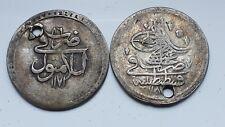 2 ISLAMIC  SILVER COINS(10 PARA AH 1171 MUSTAFA& 10 PARA AH 1187 A.HAMID I) HOLE