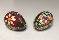 2 Rare Colorful Vintage Abalone & Stone Eggs f/ Mexico - Father's Day �