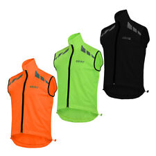 Mens cycling Gilet Shower Windproof Foldable Running Jacket Breathable high viz