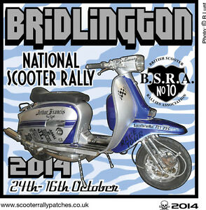 2014 BRIDLINGTON NATIONAL SCOOTER RALLY RUN PATCH NOT PADDY SMITH