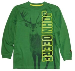NEW Green L/S John Deere BoysT-Shirt Deer Buck Size 10/12, 14/16