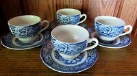 LIBERTY BLUE Staffordshire Set 4 Cups Saucers  PLUS 2 Extra Saucers ! 10 Pieces