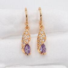 18K Yellow Gold Filled Fashion Purple Marquise Mystic Topaz Dangle Earrings