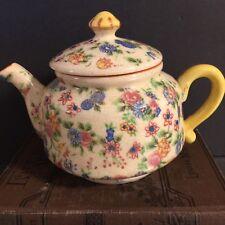Vintage Chintz Calico Floral Tea Pot Pre WWII Crown Banner Mark Export Ware