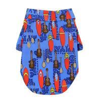 Doggie Design Hawaiian Camp Dog Shirt - Ukuleles and Surfboards Sizes XXS-2XL
