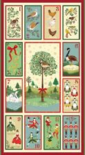 Makower 12 Days of Christmas Fabric Panel 24x44 Inch - Sold Per Panel