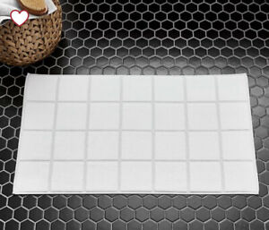 west elm Grey sky organic Tile sculpted bath mat White With Grey Accents Lines
