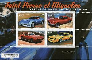 Saint-Pierre & Miquelon SP&M Cars Stamps 2020 MNH American Automobiles 4v M/S