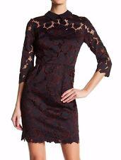 NWT Trina Turk Killian Silk Contrast Spread Collar Purple Lace Sheath Dress Sz 6