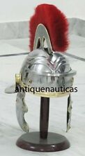 Medieval Roman Centurion Armour Helmet W/ Red Plume Re-enactment Role Play Helm