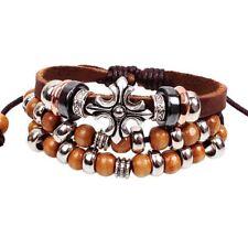 Leather Cross & Wooden Beads Bracelet Boho Bohemian Jewellery Gift for Him A309