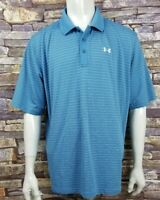 Men's 2XL XXL Under Armour Blue Striped Golf Polo Rugby Shirt