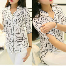 Women Elegant Career Office Long-sleeve Print Chiffon Slim Blouses T Shirt M US