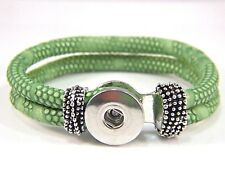 Noosa Leather Bracelet fit Chunk Gingersnap Button Chunks Snaps Charm Green 18mm
