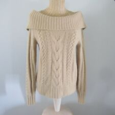Vtg Banana Republic Womens PS Beige Cowl Neck 50% Angora Cable Pullover Sweater