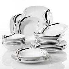 24-Piece Porcelain Dinner Set Soup Dessert Side Plate Black Stripe Tableware