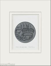 Haida artist BILL REID Embossed SILVER BULLHEAD DRUM matted art print