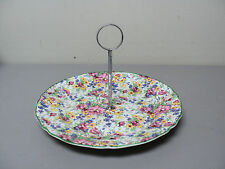 "NICE VINTAGE MIDWINTER ""SPRINGTIME"" CHINTZ DESSERT TRAY with SILVER HANDLE"