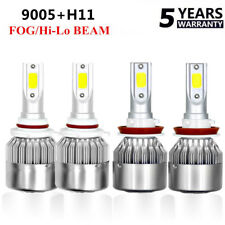 4x 9005 HB3 H11 LED 6000K White Headlight Conversion Kit High Low Beam Fog Light