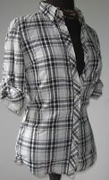 Forever 21 Women's Blouse Top Button Roll Up Plaid White Black size Small EUC