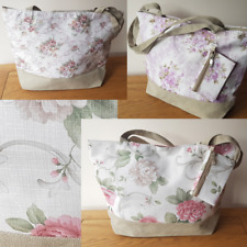 FLORAL BEACH BAG TOTE WITH PURSE VINTAGE Italian Styled Hessian Handles & Trim