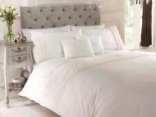 Cream Luxury Bedding Set Raised Rose Ruffle Ribbon Duvet Cover Pillow Cases