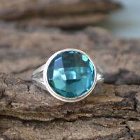 Green Apatite Quartz 925 Sterling Silver Artisan Handmade Gift Ring Jewelry
