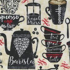 Fabric Coffee House Mug Barrista on Tan Cotton by the 1/4 yard BIN