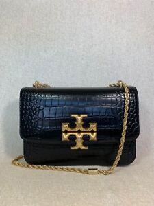 NEW Tory Burch Black Croc Eleanor Convertible Shoulder Bag $798
