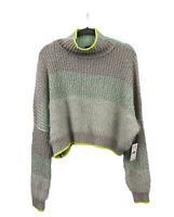 Free People Cowl Neck Sunbrite Sweater in Gray and Turquoise Women's Size L NWT