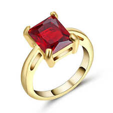 Red Ruby Big Stone Engagement Ring 18k Yellow Gold Filled Jewelry Size 9