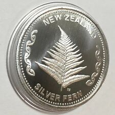 New Zealand Mint 1 oz 999 Silver Fern Coin ~ Beautiful BU Rounds in Capsule