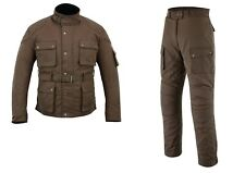 Warrior Brown Classic Waxed Cotton Motorcycle Waterproof Armour Jacket Trouser