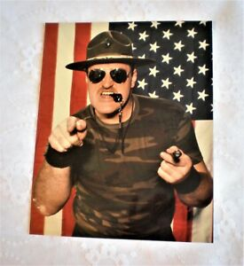 SGT. SLAUGHTER WWF WWE Wrestling 8x10 Glossy Color Photo Picture With Defect