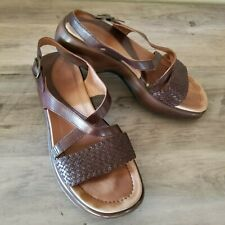 DANSKO WOMEN Brown Wedge PLATFORM Flip Flop SANDALS Slingback COMFORT Weave 39