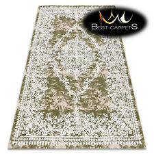 """SOFT AMAZING ACRYLIC RUGS """"DIZAYN"""" 143 Thick exclusive green ivory HIGH QUALITY"""