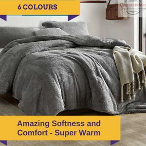 Ramesses Teddy Fleece Quilt Cover Set | Ultra Warm Bedding Cover Soft Fluffy