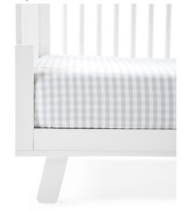 Serena & Lily Gingham Crib Sheet (Fog/Gray) - Sold Out On S&L - NWT - Retail $48