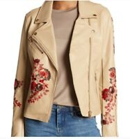 BlankNYC Faux Leather Floral Moto Jacket Tan Red Embroidered Floral Large