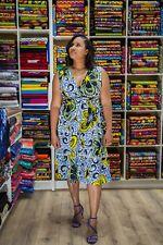Floral African Print Knielang Partykleid in Ankara Print Fabric, Wickelkleid