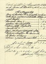 Conto Manoscritto Muratore per Lavori Bottega Palazzo Vecchio Firenze 1837