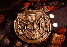 COOL Handmade Bronze Crusaders helmet Men Belt Buckles Cowhide Leather OP94